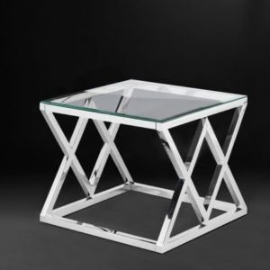 Боковой стол «С-21» из полированной нержавеющей стали и стекла.