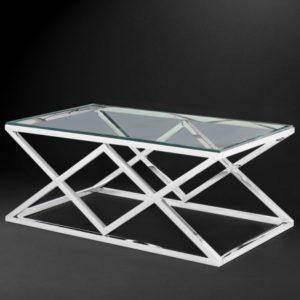 Журнальный столик «С-24» из нержавеющей стали и стекла
