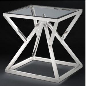 Боковой стол С-20 из нержавеющей стали и стекла