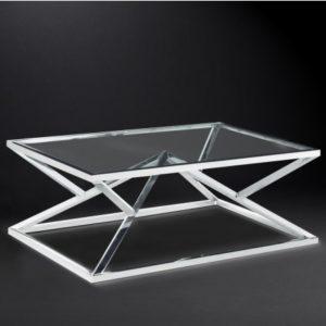Журнальный столик «С-22» из нержавеющей стали и стекла
